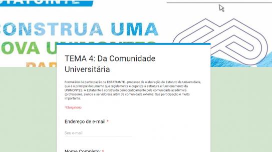 Encaminhamento de propostas para a comissão da Estatuinte da Unimontes até 31 de outubro